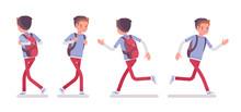 Teenager Boy In Walking And Running Pose