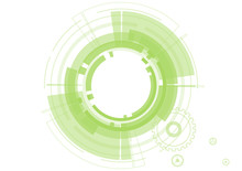 Vector Abstract Technology Green Circles On White Background.