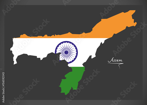 Assam map with Indian national flag illustration Wallpaper Mural