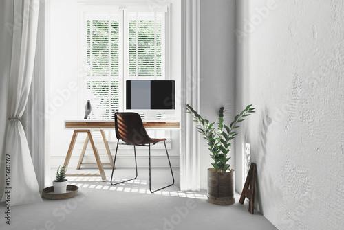 Fotografija Modern simple office with trestle desk