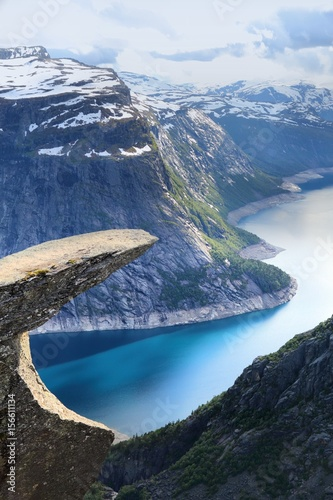 Fotobehang Scandinavië Trolltunga landform in Norway