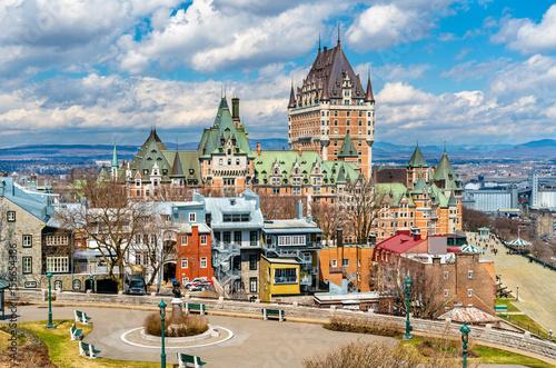 Naklejka premium Widok na Chateau Frontenac w mieście Quebec w Kanadzie