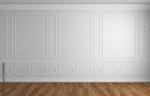 Obraz White wall in classic style empty room architectural background - fototapety do salonu