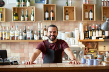 Happy Man, Barman Or Waiter At Bar