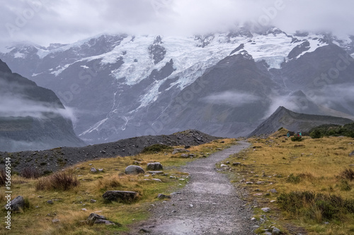 Hooker Valley Track, One of the most popular walks in Aoraki/Mt Cook National Park, New Zealand