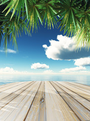 Fototapeta3D wooden table looking out to tropical ocean