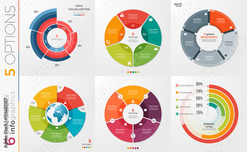 Tela Collection of 6 vector circle chart templates for infographics with 5 options