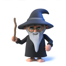 3d Funny Cartoon Wizard Magician Character Waves His Wand In Greeting
