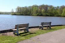 The Empty Park Benches Overlooking The Lake.