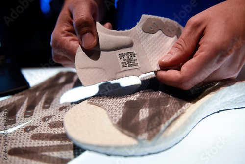 8136cb85 Parts of prototypes of Futurecraft 3D shoe are pictured during presentation  of first Adidas shoe from