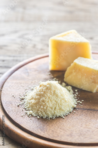 Parmesan cheese on the wooden board