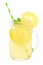 Mason Jar Glass Of Lemonade Wi...