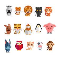 A Mega Icon Set Of Zebra, Tiger, Lion, Donkey, Monkey, Hen, Penguin, Tiger, Cock Black Cat, Pig, Cow, Dog  Illustration On A Plain Background