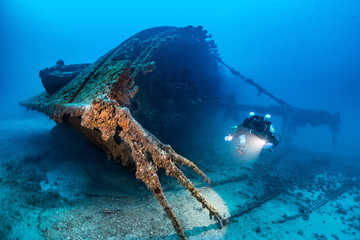 Diving on the wreck BRIONI Vis Island