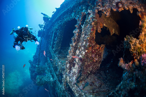 Cuadros en Lienzo Diving on the wreck  Vissilios T  Island VIS Croatia
