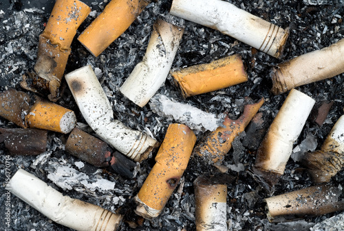 Valokuva  Burnt cigarette butts and ashes
