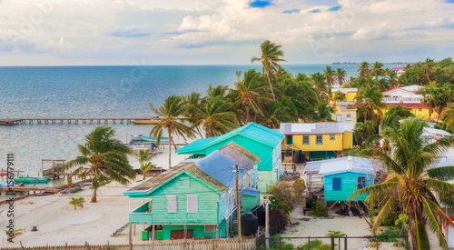 Aerial view at wooden pier dock and ocean view at Caye Caulker Belize Caribbean Wallpaper Mural