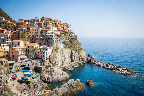 Fototapety, obrazy: Manarola in Cinque Terre, Italy - July 2016 - The most eye-catching of Cinque Terre towns