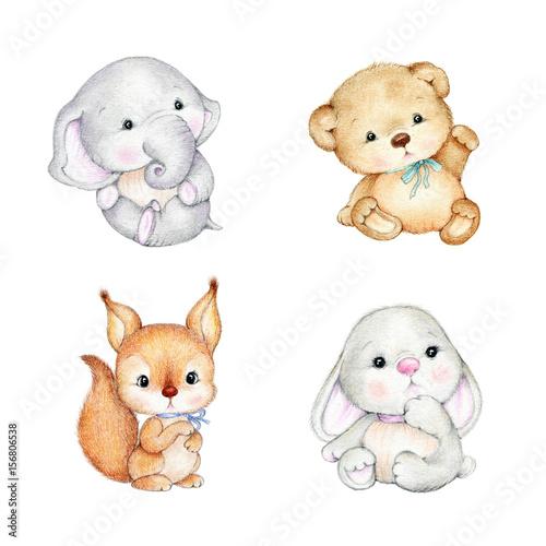 Set of cute baby animals -Teddy bear, bunny, elephant, squirrel Wall mural