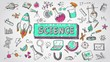 Doodle cartoon animation of science, chemistry, physics, astronomy and biology school education subject used for presentation title in 4k ultra hd