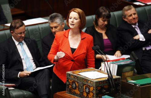 Australian Prime Minister Julia Gillard talks during
