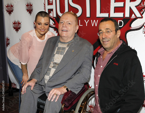 Publisher Larry Flynt Poses At Induction Ceremony Producer Stagliano And Actress Belladonnainto The Hustler Hollywood Walk Of Fame