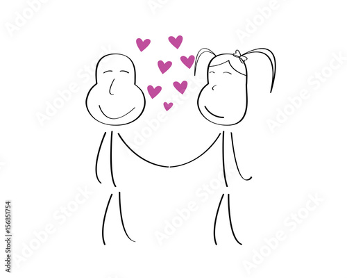 Romantic Cute Couple Stick Doodle Illustration Draw By A 5 Years Old