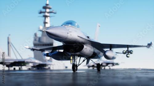 Fotografie, Obraz  Jet f16, fighter on aircraft carrier in sea, ocean