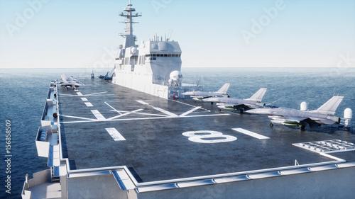 Obraz na dibondzie (fotoboard) Lotniskowiec w morze, ocean z wojownikiem. Koncepcja wojny i broń. 3d rendering.