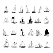 Sailboat Collection. Cartoon C...