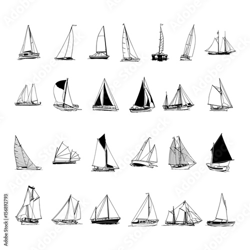 sailboat collection. cartoon clipart Vector Illustration. Obraz na płótnie