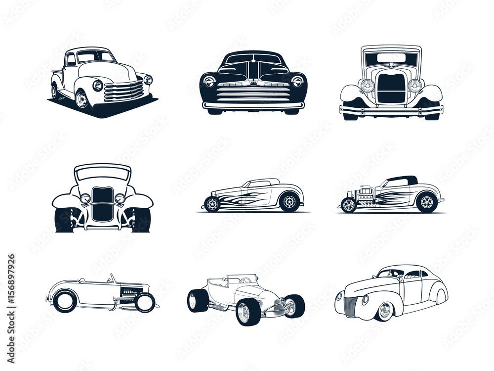 Fototapeta classic cars collection. vector illustration set