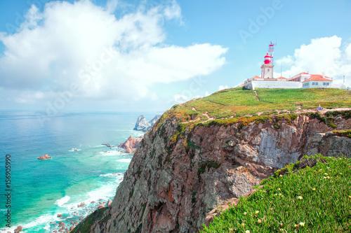 Garden Poster Portugal. Cabo da Roca and the lighthouse