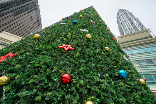 Photo  Green giant Christmas tree at front of Kuala Lumpur City Centre mall as part of Christmas celebration for downtown Kuala Lumpur