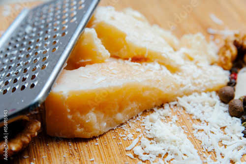 Staande foto Zuivelproducten Parmesan cheese space for text banner.