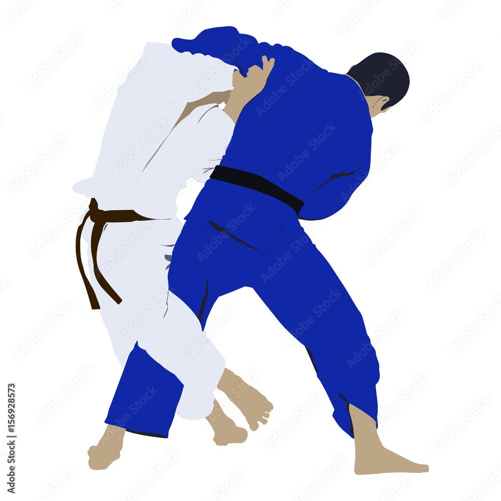 Judo Wrestling Fight Two Judoka Vector Illustration