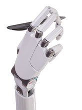 Cyborg Hand With Pen Isolated ...