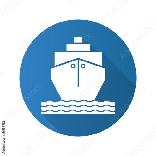 Fotografía  Cruise ship flat design long shadow icon