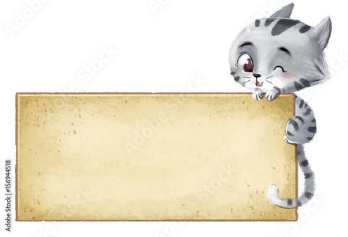 Fotografie, Obraz gato con cartel