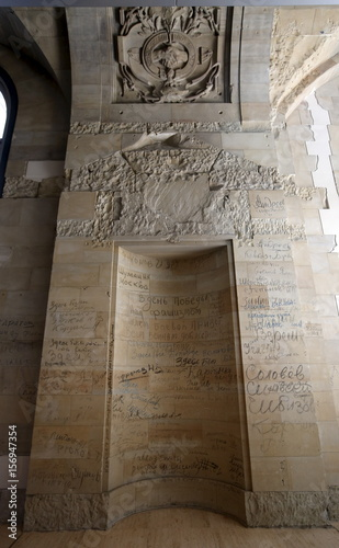 Original bits of graffiti with soldiers names and dates left