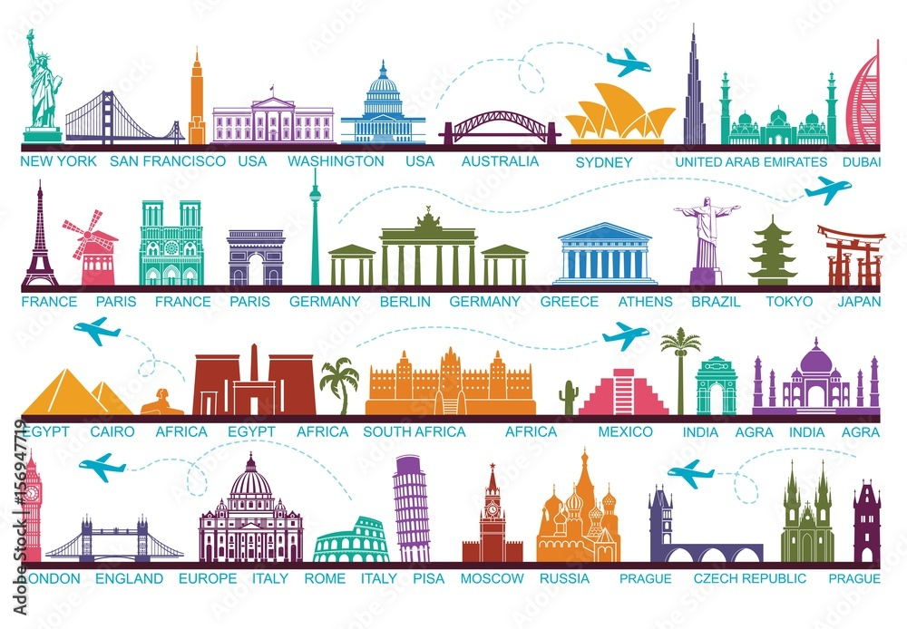 Fototapety, obrazy: Icons world tourist attractions. The symbols travel around the world. Landmark and attractions