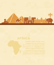 Template Of Leaflets With The Sights Of Africa And A Map