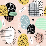 Seamless abstract pattern with hand drawn shapes and elements. Vector trendy texture - 156973933
