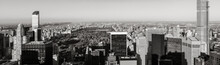 Black & White Aerial Panoramic View Of Central Park With Midtown Skyscrapers, Upper West And Upper East Side Buildings. Manhattan, New York City