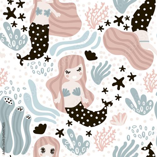 Materiał do szycia Bezszwowe dziecinna wzór ładny syreny, wodorostów, rozgwiazdy. Podwodne wektor modny tekstury. Idealny do tkaniny, tekstylia, zawijanie