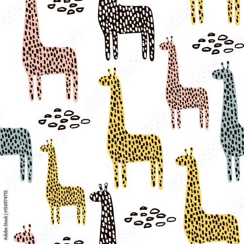 Cotton fabric Seamless pattern with giraffe. Childish texture for fabric, textile. Vector background