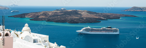 Luxury cruiser in Fira Bay
