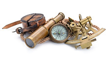 Compass,sextant And Spyglass O...