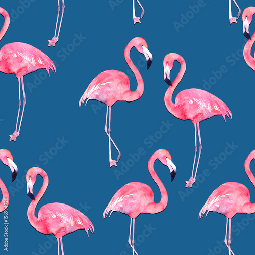 Canvas Prints Flamingo Bird Watercolor seamless pattern with exotic flamingo on blue background. Summer decoration print for wrapping, wallpaper, fabric