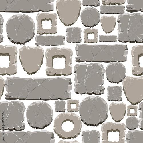 Wzór kreskówka kamienie wzór. Wektor szary kamień samless tekstury